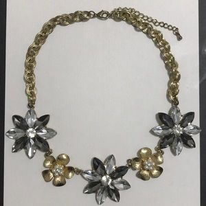 Anthropologie Crystal/Pearl Floral Gold Necklace